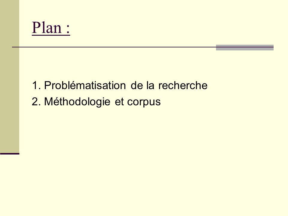 Plan : 1. Problématisation de la recherche 2. Méthodologie et corpus