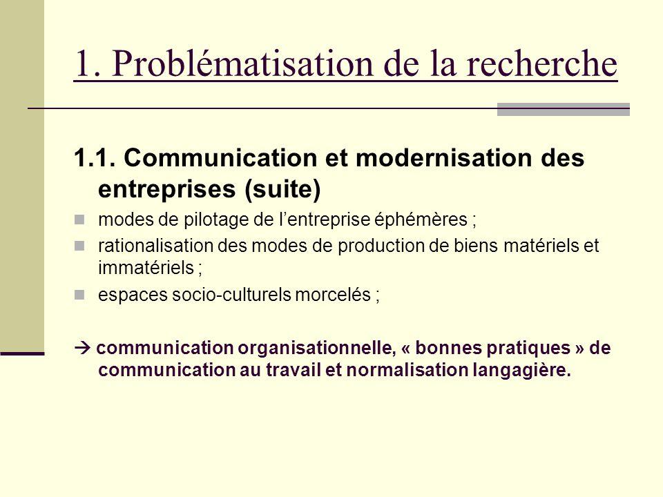 1. Problématisation de la recherche 1.1. Communication et modernisation des entreprises (suite) modes de pilotage de lentreprise éphémères ; rationali