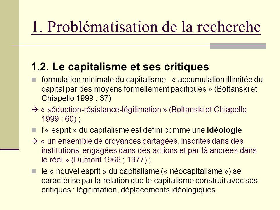 1. Problématisation de la recherche 1.2. Le capitalisme et ses critiques formulation minimale du capitalisme : « accumulation illimitée du capital par