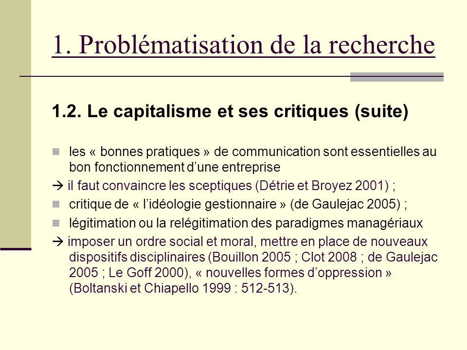 1. Problématisation de la recherche 1.2. Le capitalisme et ses critiques (suite) les « bonnes pratiques » de communication sont essentielles au bon fo