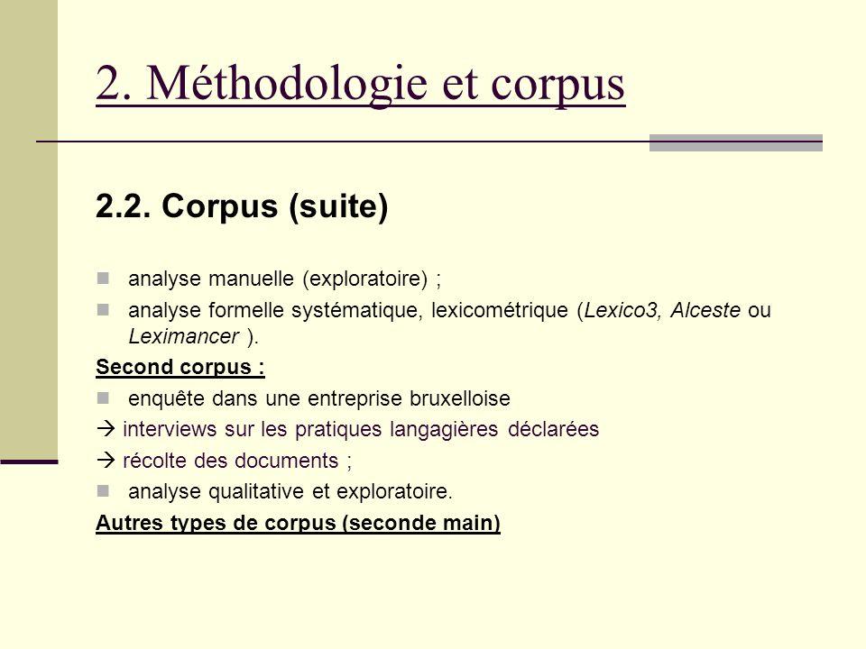 2. Méthodologie et corpus 2.2. Corpus (suite) analyse manuelle (exploratoire) ; analyse formelle systématique, lexicométrique (Lexico3, Alceste ou Lex