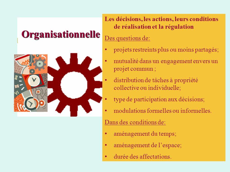 Organisationnelle Les décisions, les actions, leurs conditions de réalisation et la régulation Des questions de: projets restreints plus ou moins part