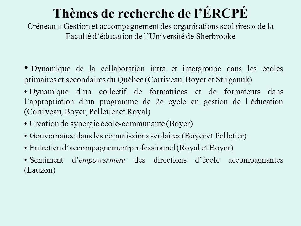 Thèmes de recherche de lÉRCPÉ Créneau « Gestion et accompagnement des organisations scolaires » de la Faculté déducation de lUniversité de Sherbrooke