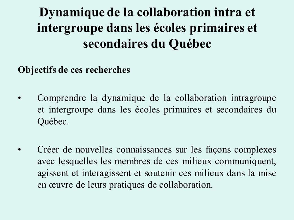 Dynamique de la collaboration intra et intergroupe dans les écoles primaires et secondaires du Québec Objectifs de ces recherches Comprendre la dynami