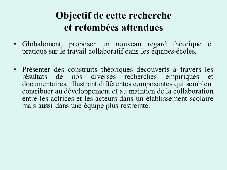 Cadre théorique et conceptuel Modèle écosystémique de Bronfenbrenner (1979) (micro-, méso-, exo- et macro-système) Mésosystème et dimensions caractérisant les interactions entre des groupes proximaux : participation multicontexte, couplage indirect, communications intercontextes, connaissance intercontexte.