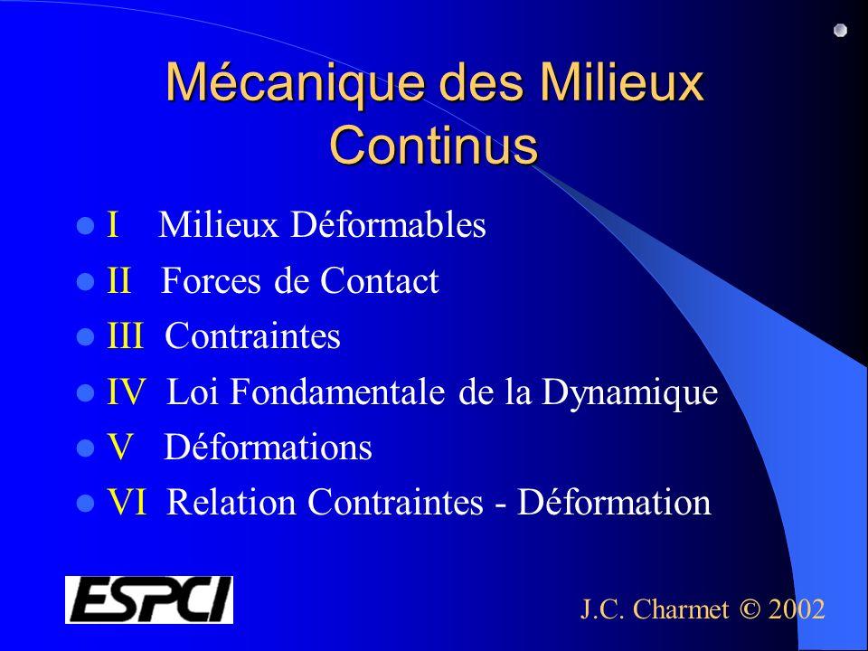 Mécanique des Milieux Continus I Milieux Déformables II Forces de Contact III Contraintes IV Loi Fondamentale de la Dynamique V Déformations VI Relati