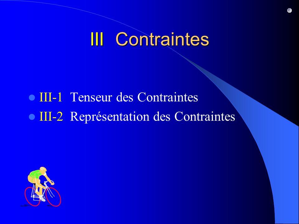 III Contraintes III-1 Tenseur des Contraintes III-2 Représentation des Contraintes