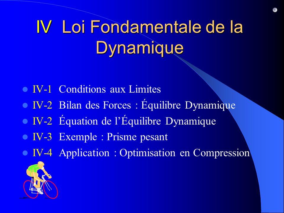 IV Loi Fondamentale de la Dynamique IV-1 Conditions aux Limites IV-2 Bilan des Forces : Équilibre Dynamique IV-2 Équation de lÉquilibre Dynamique IV-3