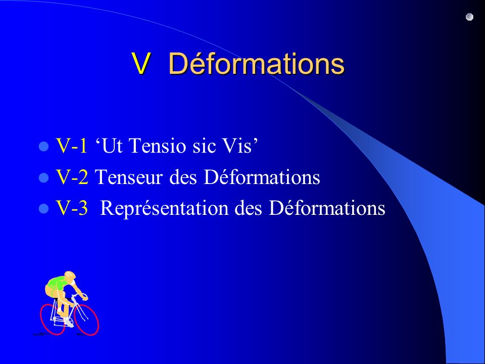 V Déformations V-1 Ut Tensio sic Vis V-2 Tenseur des Déformations V-3 Représentation des Déformations