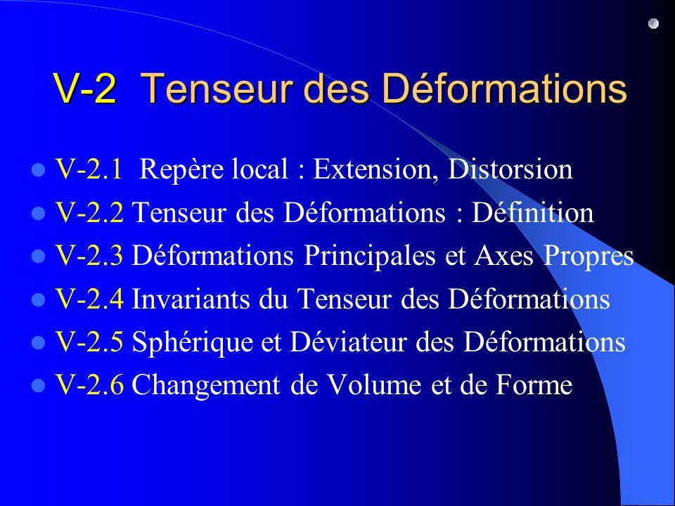 V-2 Tenseur des Déformations V-2.1 Repère local : Extension, Distorsion V-2.2 Tenseur des Déformations : Définition V-2.3 Déformations Principales et