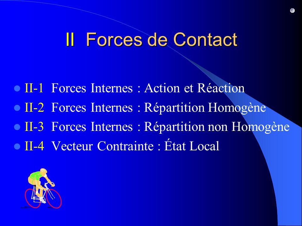 II Forces de Contact II-1 Forces Internes : Action et Réaction II-2 Forces Internes : Répartition Homogène II-3 Forces Internes : Répartition non Homo