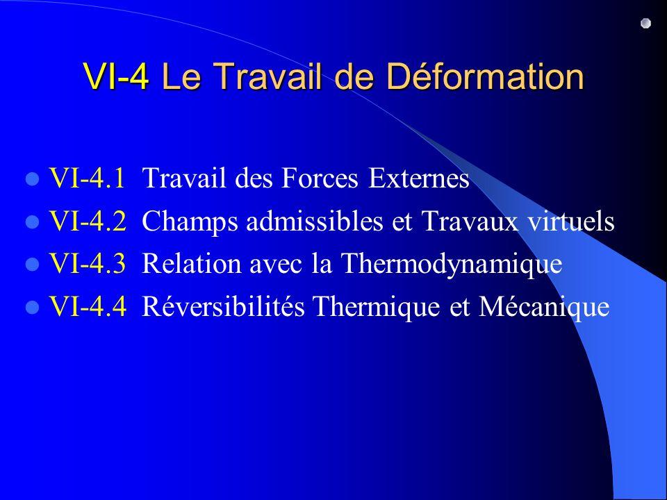VI-4 Le Travail de Déformation VI-4.1 Travail des Forces Externes VI-4.2 Champs admissibles et Travaux virtuels VI-4.3 Relation avec la Thermodynamiqu