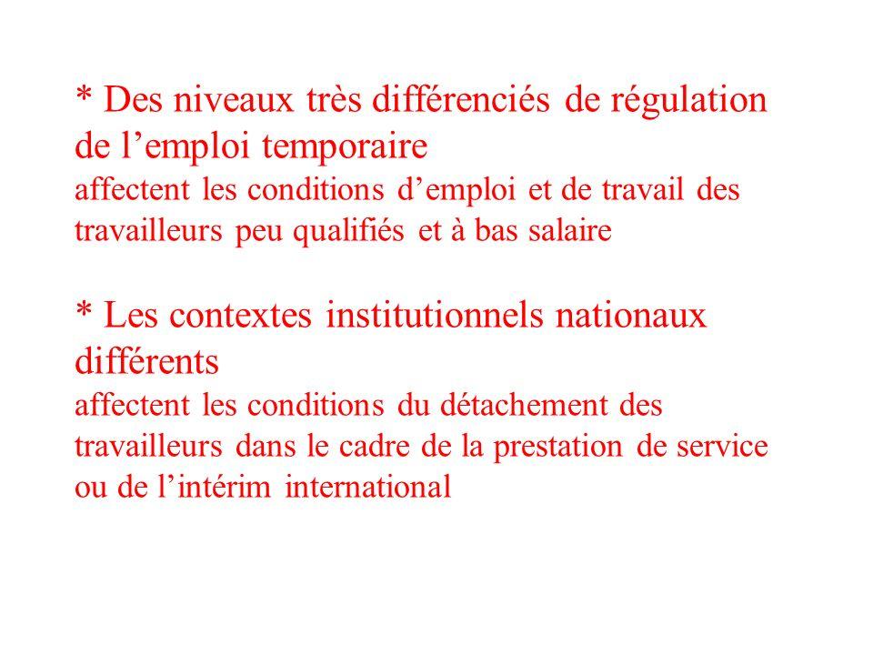 * Des niveaux très différenciés de régulation de lemploi temporaire affectent les conditions demploi et de travail des travailleurs peu qualifiés et à