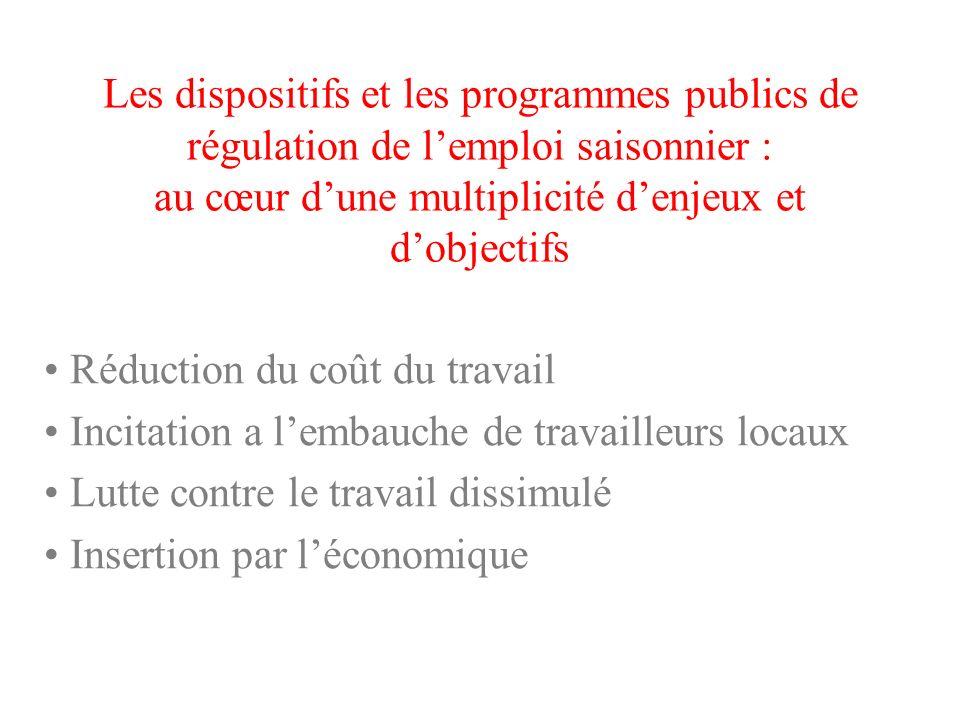 Les dispositifs et les programmes publics de régulation de lemploi saisonnier : au cœur dune multiplicité denjeux et dobjectifs Réduction du coût du t