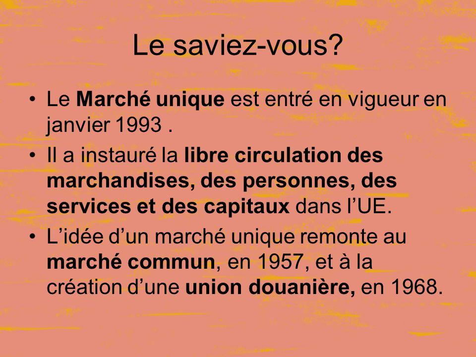 Le saviez-vous. Le Marché unique est entré en vigueur en janvier 1993.