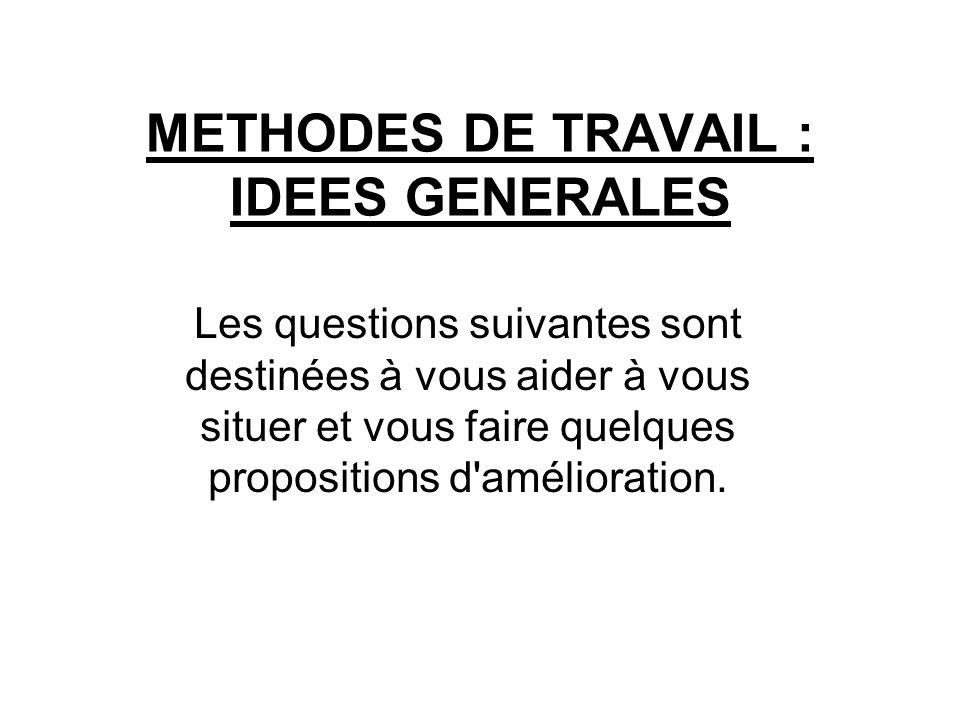 METHODES DE TRAVAIL : IDEES GENERALES Les questions suivantes sont destinées à vous aider à vous situer et vous faire quelques propositions d'améliora