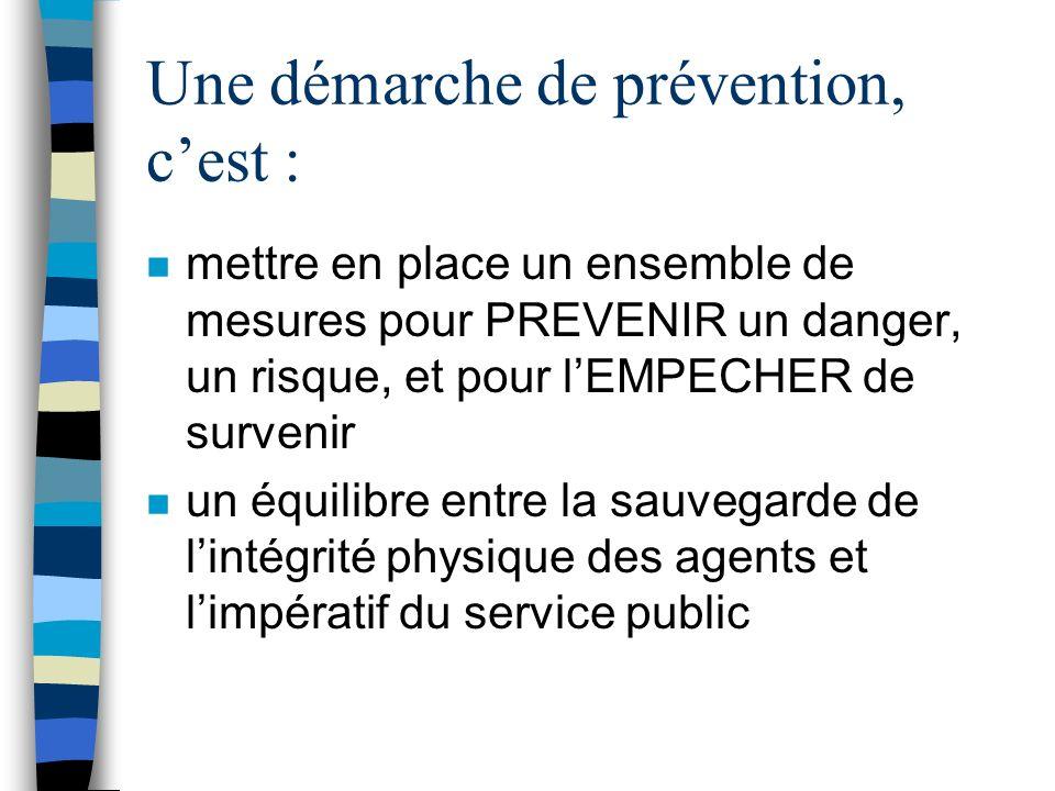 Quelques « rappels » : n Quest-ce quune démarche de prévention ? n rappels sur la réglementation en matière d hygiène et sécurité au travail