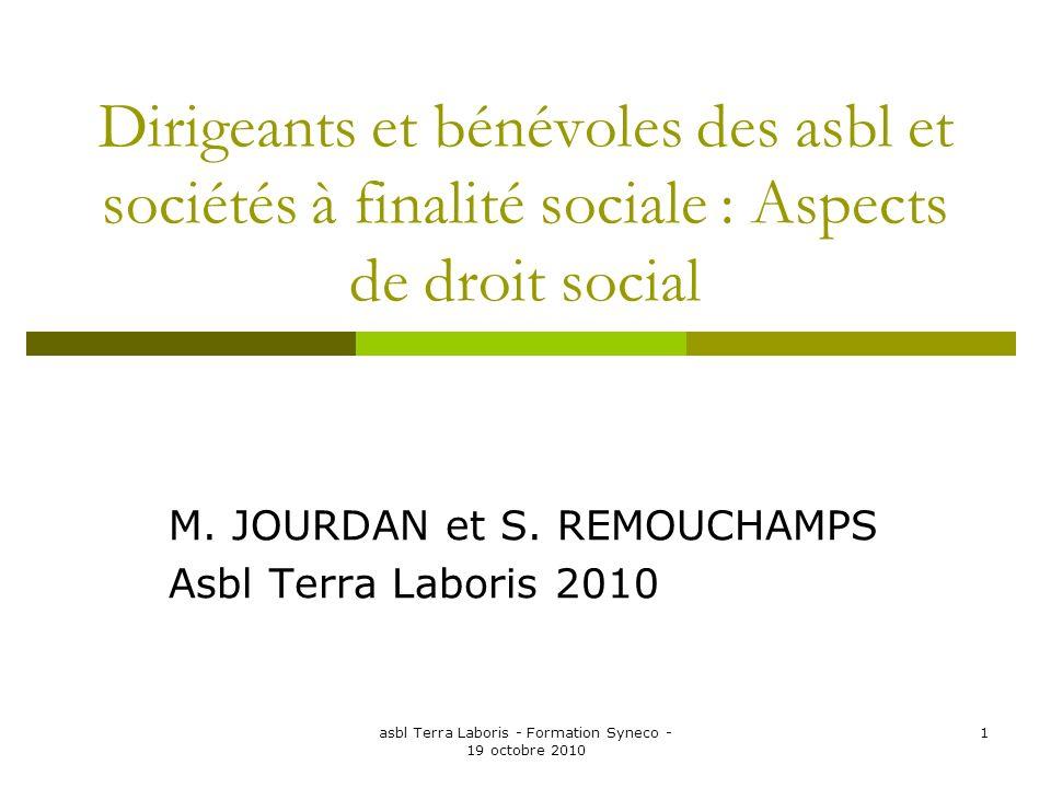 asbl Terra Laboris - Formation Syneco - 19 octobre 2010 1 Dirigeants et bénévoles des asbl et sociétés à finalité sociale : Aspects de droit social M.