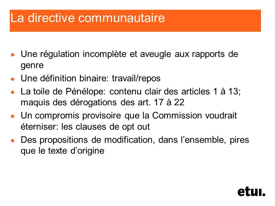 La directive communautaire Une régulation incomplète et aveugle aux rapports de genre Une définition binaire: travail/repos La toile de Pénélope: cont