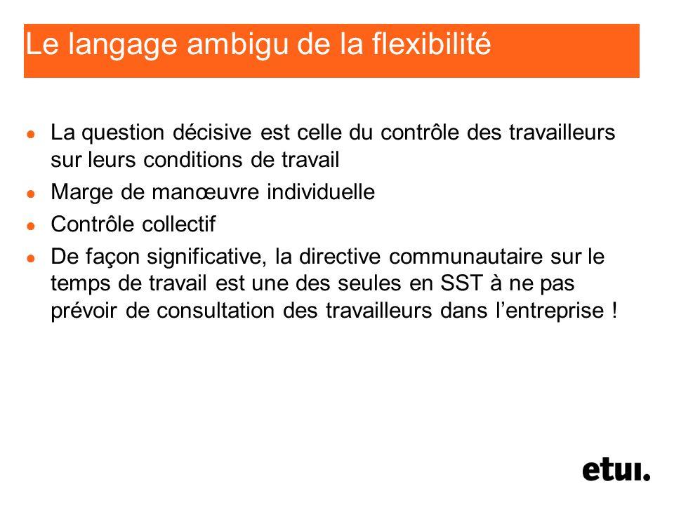 Le langage ambigu de la flexibilité La question décisive est celle du contrôle des travailleurs sur leurs conditions de travail Marge de manœuvre indi