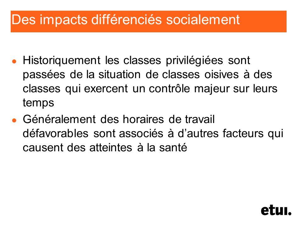 Des impacts différenciés socialement Historiquement les classes privilégiées sont passées de la situation de classes oisives à des classes qui exercen