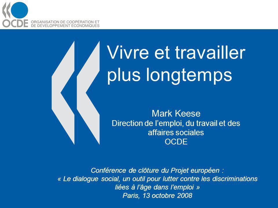 Vivre et travailler plus longtemps Mark Keese Direction de lemploi, du travail et des affaires sociales OCDE Conférence de clôture du Projet européen