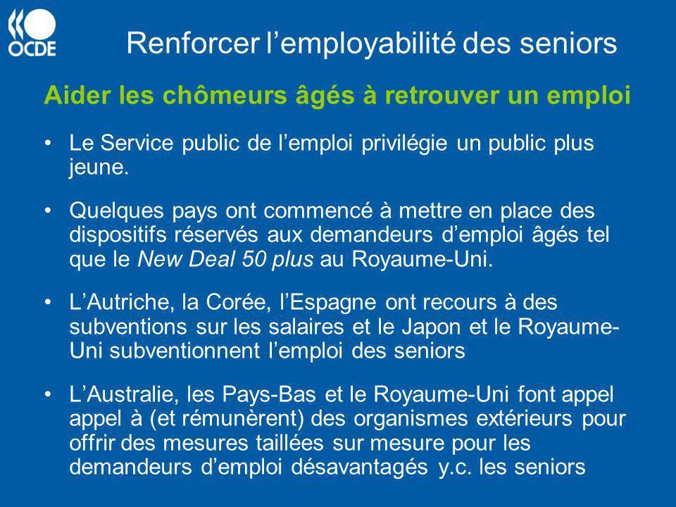 Renforcer lemployabilité des seniors Aider les chômeurs âgés à retrouver un emploi Le Service public de lemploi privilégie un public plus jeune. Quelq