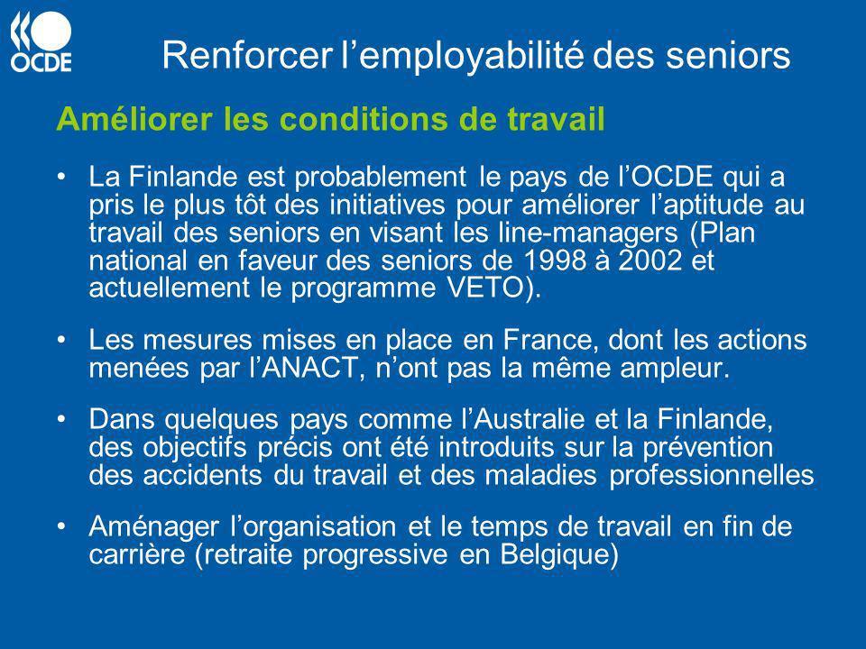 Renforcer lemployabilité des seniors Améliorer les conditions de travail La Finlande est probablement le pays de lOCDE qui a pris le plus tôt des init