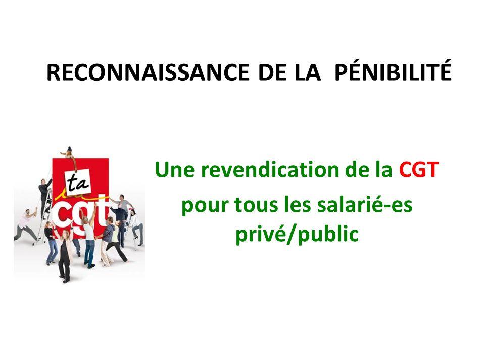 RECONNAISSANCE DE LA PÉNIBILITÉ Une revendication de la CGT pour tous les salarié-es privé/public