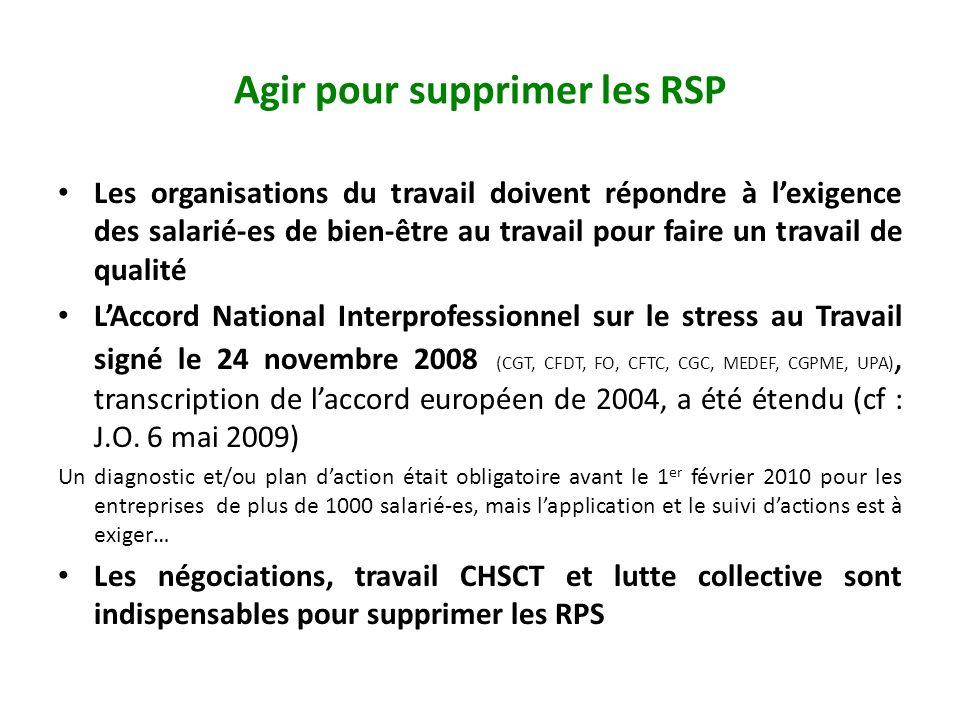 Agir pour supprimer les RSP Les organisations du travail doivent répondre à lexigence des salarié-es de bien-être au travail pour faire un travail de qualité LAccord National Interprofessionnel sur le stress au Travail signé le 24 novembre 2008 (CGT, CFDT, FO, CFTC, CGC, MEDEF, CGPME, UPA), transcription de laccord européen de 2004, a été étendu (cf : J.O.