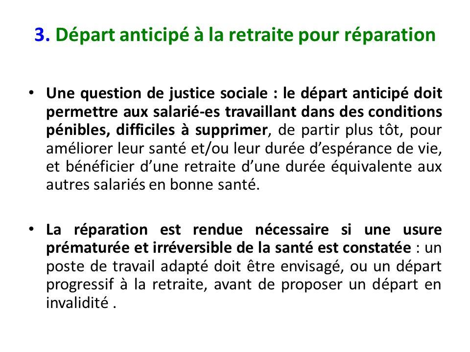 3. Départ anticipé à la retraite pour réparation Une question de justice sociale : le départ anticipé doit permettre aux salarié-es travaillant dans d