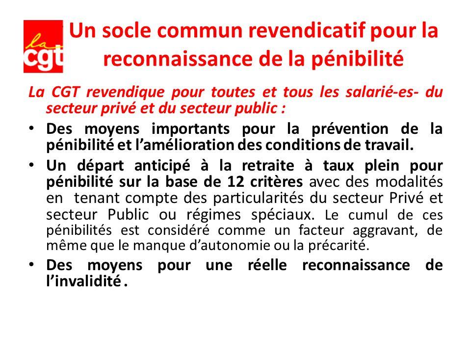 Un socle commun revendicatif pour la reconnaissance de la pénibilité La CGT revendique pour toutes et tous les salarié-es- du secteur privé et du secteur public : Des moyens importants pour la prévention de la pénibilité et lamélioration des conditions de travail.