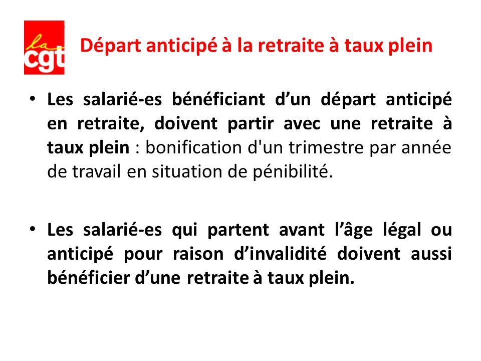 Départ anticipé à la retraite à taux plein Les salarié-es bénéficiant dun départ anticipé en retraite, doivent partir avec une retraite à taux plein :