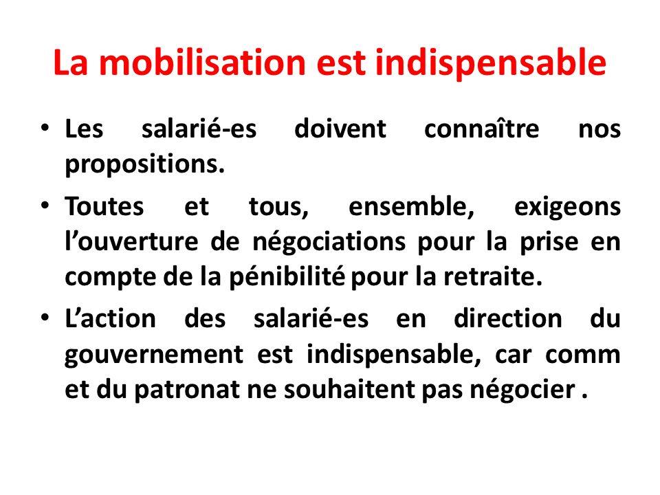 La mobilisation est indispensable Les salarié-es doivent connaître nos propositions. Toutes et tous, ensemble, exigeons louverture de négociations pou