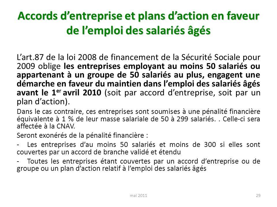Accords dentreprise et plans daction en faveur de lemploi des salariés âgés Lart.87 de la loi 2008 de financement de la Sécurité Sociale pour 2009 obl