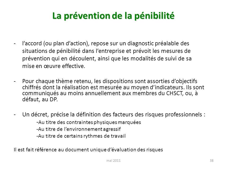 La prévention de la pénibilité -laccord (ou plan daction), repose sur un diagnostic préalable des situations de pénibilité dans lentreprise et prévoit les mesures de prévention qui en découlent, ainsi que les modalités de suivi de sa mise en œuvre effective.
