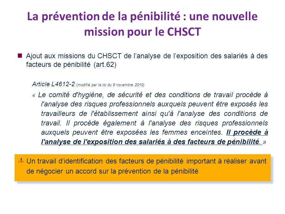 La prévention de la pénibilité : une nouvelle mission pour le CHSCT Ajout aux missions du CHSCT de lanalyse de lexposition des salariés à des facteurs de pénibilité (art.62) Article L4612-2 (modifié par la loi du 9 novembre 2010) « Le comité d hygiène, de sécurité et des conditions de travail procède à l analyse des risques professionnels auxquels peuvent être exposés les travailleurs de l établissement ainsi qu à l analyse des conditions de travail.