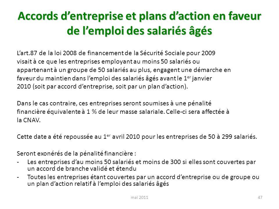 Accords dentreprise et plans daction en faveur de lemploi des salariés âgés Lart.87 de la loi 2008 de financement de la Sécurité Sociale pour 2009 vis