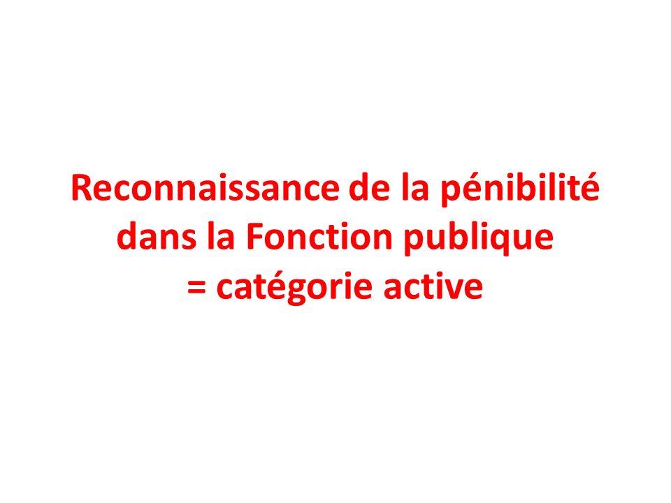 Reconnaissance de la pénibilité dans la Fonction publique = catégorie active