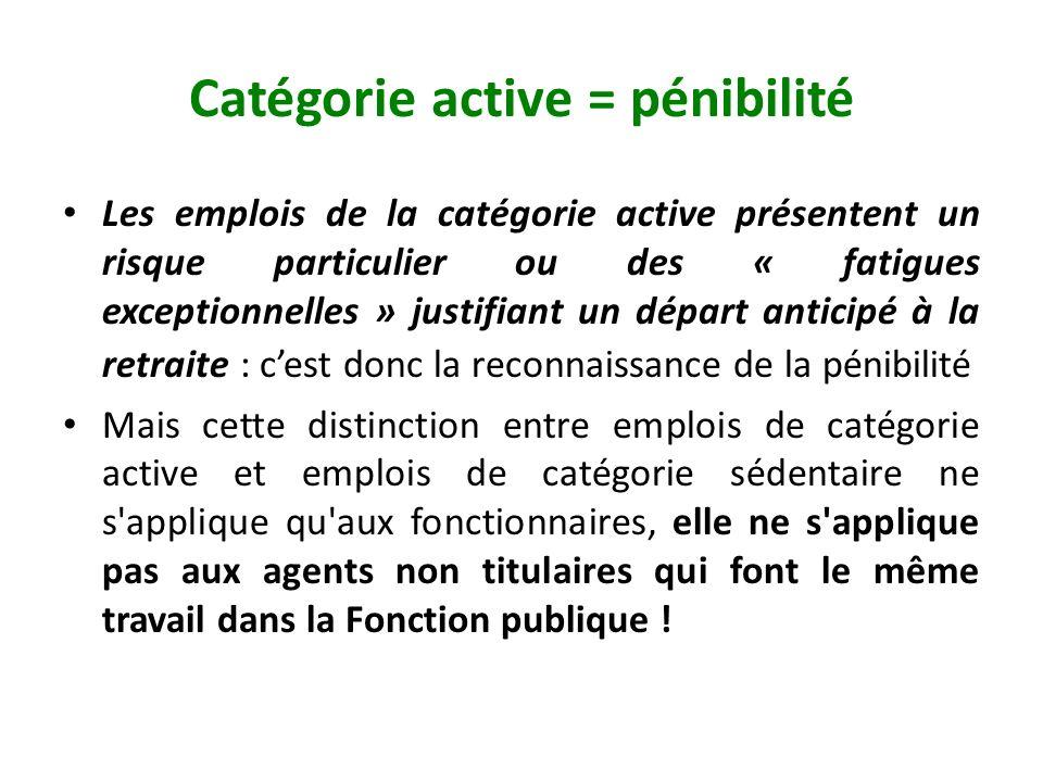 Catégorie active = pénibilité Les emplois de la catégorie active présentent un risque particulier ou des « fatigues exceptionnelles » justifiant un dé