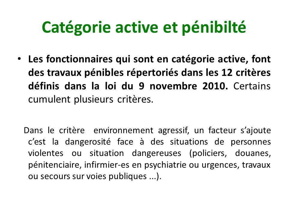Catégorie active et pénibilté Les fonctionnaires qui sont en catégorie active, font des travaux pénibles répertoriés dans les 12 critères définis dans la loi du 9 novembre 2010.