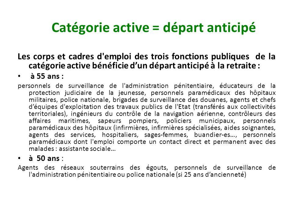 Catégorie active = départ anticipé Les corps et cadres d'emploi des trois fonctions publiques de la catégorie active bénéficie dun départ anticipé à l