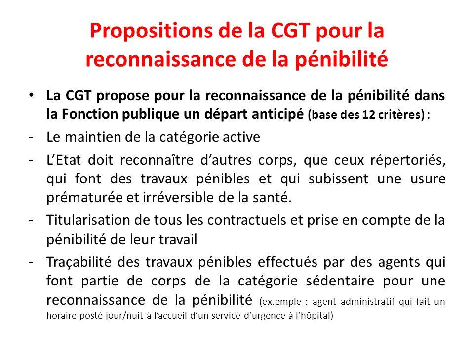 Propositions de la CGT pour la reconnaissance de la pénibilité La CGT propose pour la reconnaissance de la pénibilité dans la Fonction publique un dép