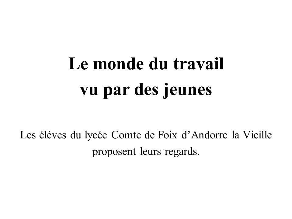 Le monde du travail vu par des jeunes Les élèves du lycée Comte de Foix dAndorre la Vieille proposent leurs regards.