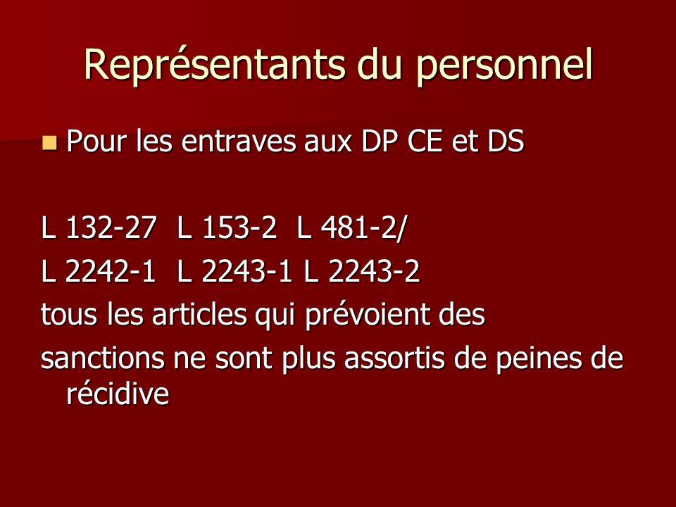 Représentants du personnel Pour les entraves aux DP CE et DS Pour les entraves aux DP CE et DS L 132-27 L 153-2 L 481-2/ L 2242-1 L 2243-1 L 2243-2 to