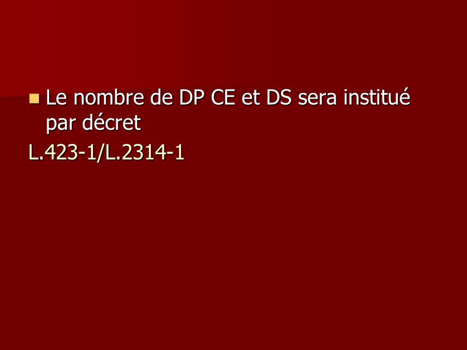 Le nombre de DP CE et DS sera institué par décret Le nombre de DP CE et DS sera institué par décretL.423-1/L.2314-1