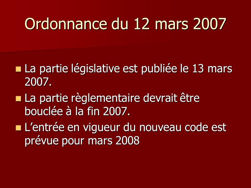Ordonnance du 12 mars 2007 La partie législative est publiée le 13 mars 2007. La partie législative est publiée le 13 mars 2007. La partie règlementai