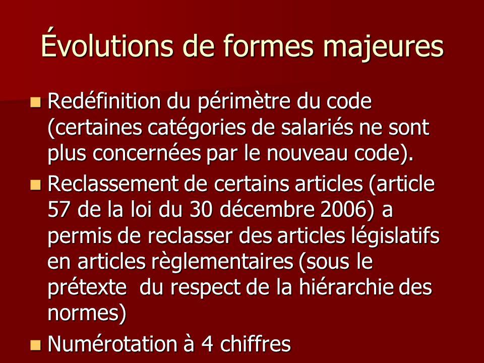 Évolutions de formes majeures Redéfinition du périmètre du code (certaines catégories de salariés ne sont plus concernées par le nouveau code). Redéfi