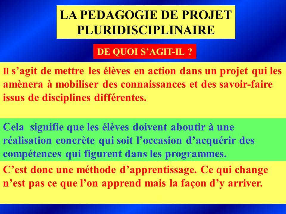 CNFETP de LILLE-JM PETIT LA PEDAGOGIE DE PROJET PLURIDISCIPLINAIRE DE QUOI SAGIT-IL .