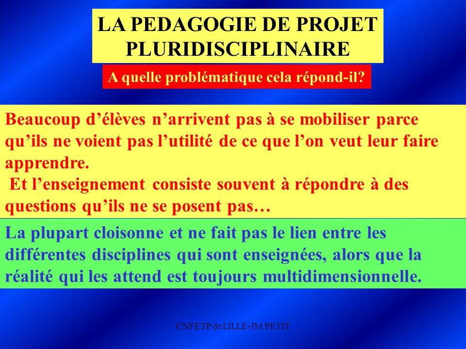 CNFETP de LILLE-JM PETIT LA PEDAGOGIE DE PROJET PLURIDISCIPLINAIRE A quelle problématique cela répond-il.